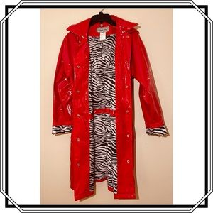 Trench Rain Coat Cherry Red Size Small